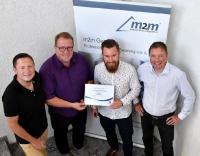 m2m Germany ist zertifizierter IoT Eco Systempartner der Unitymedia Business ( v.l.n.r. Andreas Dietzel & Nils Berning von Unitymedia Business, Marius Nickolai & Ralf Schoula, von m2m Germany)