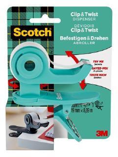 Der neue 3M Scotch Clip & Twist Klebebandabroller auch in der Trendfarbe Türkis erhältlich / Foto: 3M
