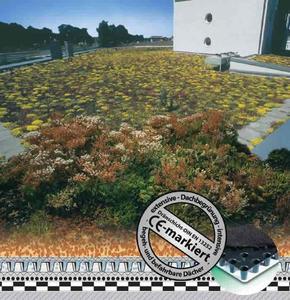 Das Bild zeigt als Beispiel den Einsatz CE-markierter Dränmatten der Firma Nophadrain bei begrünten Bauwerken