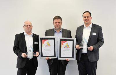 Automation Award für KI beim Rührreibschweißen (von links): Markus Denzin, Vertriebsleiter Region Süd Weidmüller; Michael Corban, Chefredakteur bei Konradin; Frédéric Erben, Corporate Strategy & Communications Grenzebach