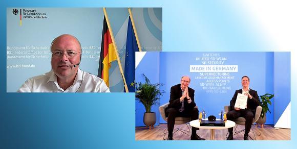 v.l.n.r. BSI-Präsident Arne Schönbohm, LANCOM Gründer und Geschäftsführer Ralf Koenzen, Dr. Martin Krebs, Director Product Management bei LANCOM Systems