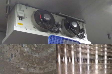 Wärmetauscher eingesetzt im Lagerbereich von Lebensmitteln oben Außenansicht, unten links vor Reinigung, unten rechts nach Reinigung