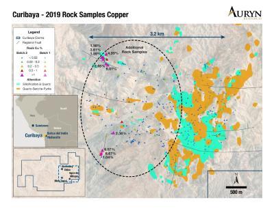 Abbildung 3: Veranschaulicht die Verteilung der Kupfermineralisierung von 2019 Proben im Westen der Hauptquarz-Serizit-Pyrit-Umbauzone innerhalb des Sambalay-Gebietes des Curibaya-Projekts. Beachten Sie, dass die Kupfermineralisierung sowohl mit Nord-Süd- als auch mit Ost-Nordost-Trendstrukturen verbunden ist, die Auryn derzeit als mit einer potenziellen Kupferporphyrmineralisierung verbunden interpretiert