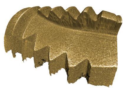 3D Oberflächenmodell eines Zahnimplantats. Mit dem optischen 3D Messsystem InfiniteFocus werden Form und Rauheit in einer vertikalen Auflösung von bis zu 10nm gemessen.