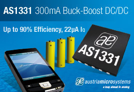austriamicrosystems introduces high efficiency 300mA DC-DC buckboost converter