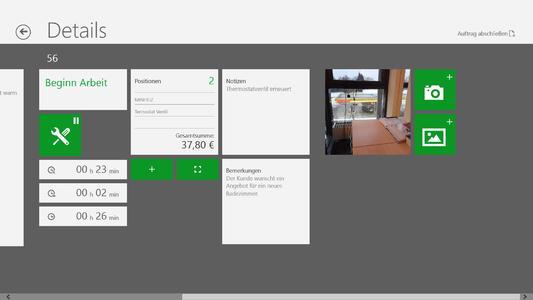 Screenshot 2 pds service: Übersicht Serviceauftrag in Windows 8
