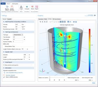 Diese Simulations-App ist für die Simulation von Rührwerken mit axial oder radial laufenden Impellern gedacht. Für eine vorgegebene Geometrie berechnet die Anwendung die Effizienz des Rührprozesses. Die Behälter, die in drei verschiedenen Bauformen verfügbar sind, können auch mit Ablenkplatten und mit 11 verschiedenen Impeller-Ausführungen ausgestattet werden