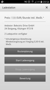 Ansichten der Charging Apps von Bosch Software Innovations mit neuen BELECTRIC Drive Ladepunkten