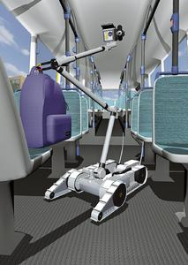 Virtual robot searches for explosives on a bus