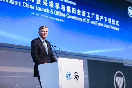 Wolf-Henning Scheider, Vorsitzender des Vorstands der ZF Friedrichshafen AG, bei der feierlichen Eröffnung des Joint-Ventures Werkes von ZF und Foton in Jiaxing (Bild: ZF)