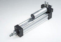 Pneumatic cylinder with built-in hydraulic brake