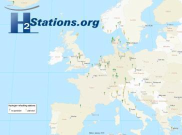 Landkarten der Wasserstoff-Tankstellen