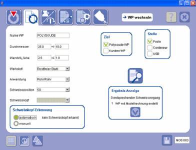 Interaktion zwischen Bediener und Maschine: Nach der Eingabe oder dem Einlesen der Daten für Grundwerkstoff, Rohrdurchmesser und wandstärke erstellt die P4 die Schweißanweisung automatisch und liefert auch die Dokumentation