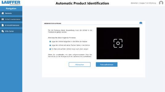 Screenshot: automatische Produkt-Identifikation