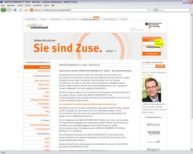 Screenshot INNOVATIONSPREIS-IT Website