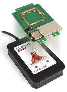 Elatec RFID Systems präsentiert auf der AMPER der RFID-Reader TWN4 MultiTech 2 BLE (hier: PCB und Desktop-Version), (Bild:  Elatec)