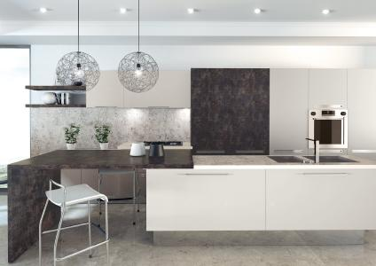 HPL as wall cladding and worktop with stone décor (D4872 BS) (photograph: SWISS KRONO)