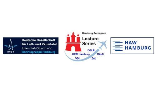 Logo zum Jubiläumsjahr 2020: DGLR Bezirksgruppe Hamburg, Hamburg Aerospace Lecture Series, HAW Hamburg.