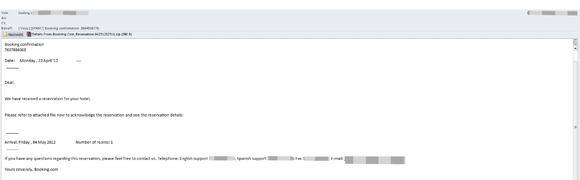 Beispiel einer gefälschten Buchungsbestätigung mit Malware-Anhang