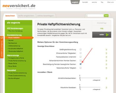 neuversichert.de Filterabfragen Private Haftpflichtversicherung