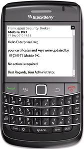 BlackBerry handheld with installed eperi Mobile PKI Solution – in this image an update notice email is displayed informing about a certificate update in the background