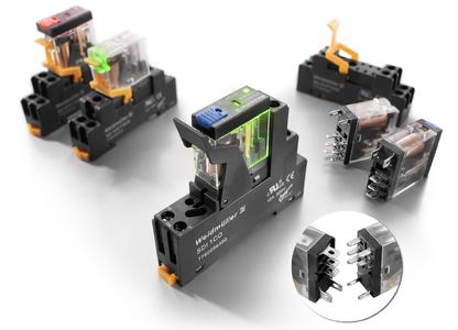 Weidmüller D-Series: Compact 1 and 2 CO contact relays with robust, industrialized plug-in pins. Detail: Robust plug-in pins for reliable contacts