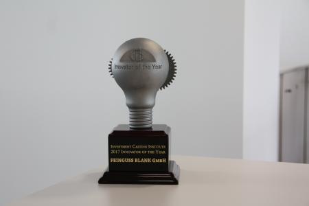 """FEINGUSS BLANK wurde am 16.10.2017 vom Investment Casting Institute mit dem begehrten Preis """"Innovator of the Year"""" für die neue Technologie der BLANK-ID ausgezeichnet (Foto: Feinguss Blank)"""