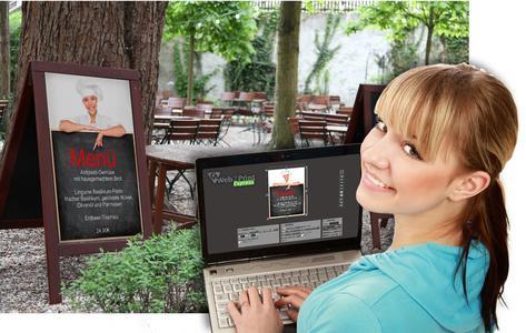 Mit der Template-Funtion können Druckdienstleister branchenspezifische Vorlagen für ihre Kunden bereitstellen. Zum Beispiel eine Menütafel für Restaurants, Cafés oder Bistros. Bild: Template Gastronomie