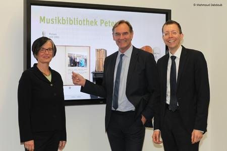 Susanne Metz (Library Leipzig), Mayor of Leipzig Burkhard Jung, Matthias Moeller (arvato Systems)