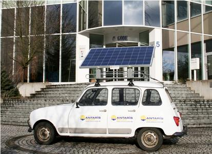 The ANTARIS SOLAR off-grid photovoltaic systems formed the basis for the mobile PV system fitted to the rally car.   Image: ANTARIS SOLAR