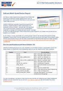 Delivery Watch SpamChecker Report (Beispielresultat)
