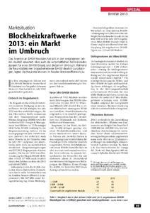 Blockheizkraftwerke (BHKW) 2013 - Fachbericht von Markus Gailfuß zum BHKW-Markt (Bild: euroheat&power)