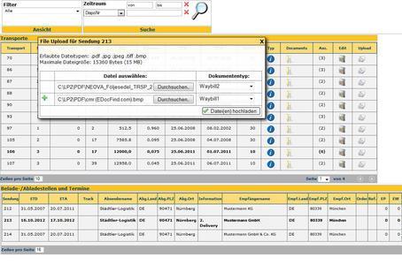 Dienstleister oder Empfänger können über das WebPublishing Dokumente oder Fotos zu einem Transportauftrag hochladen / Bild: Städtler-Logistik