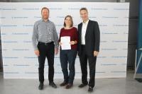 Das stolze Projektteam (von links) Prof. Dr. Timo Sörgel, Dr. Sandra Meinhard und Prof. Dr. Arndt Borgmeier / © Hochschule Aalen/Janine Soika