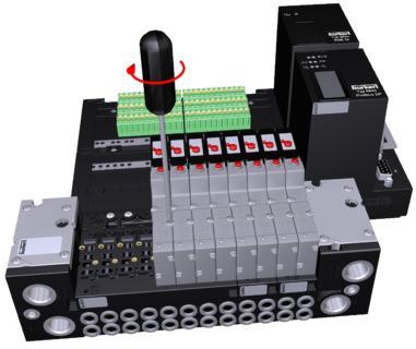 Auszug aus einer 3D-Produktpräsentation (Bürkert Pneumatik-Ventilinsel 8640)