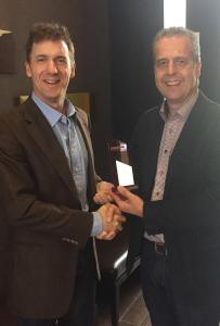 Fastest growing International Partner 2015 - Photo (from left to right): Jim Anderson (LeadDog Founder), Ray Roberts-York (Managing Director, MB-International)