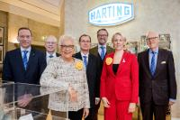 The HARTING Executive Board is very satisfied with the past financial year 2017/18: Andreas Conrad, Dr. Michael Pütz, Margrit Harting, Dr. Frank Brode, Philip Harting, Maresa Harting-Hertz and Dietmar Harting (from left to right)