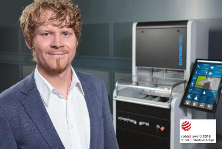 Frank Wesp, industrial designer at DATRON AG, and the new 3-axis milling machine DATRON neo
