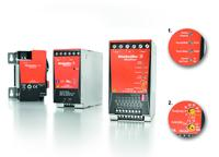 Weidmüller DC-UPS: The uninterruptible power supply bridges mains failure of up to 30 minutes at 40 A. Detail 1: The charge, status and error indicators facilitate quick error analysis. Detail 2: Different types of operation guarantee the optimal utilisation of battery power and flexible usage.