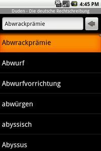 """""""Abwrackprämie"""" in der Stichwortliste des Rechtschreibdudens für Android"""