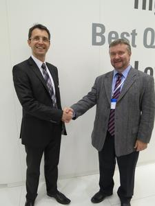 Guido Schreiner, Sales Manager, Special Distribution at Renesas Electronics Europe and Alexandr Blokhin, Vice President Marketing at PT Electronics (from left to right)