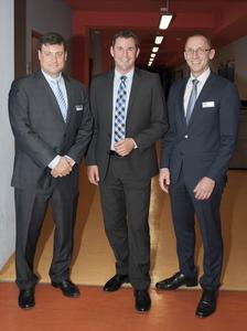 Greg Bachmann (Director and Chairman of Dymax Companies), Sven Gerich (Lord Major of Wiesbaden) and Stefan Katzenmayer (Managing Director of Dymax Europe) during the official inauguration of the Research and Development facility.