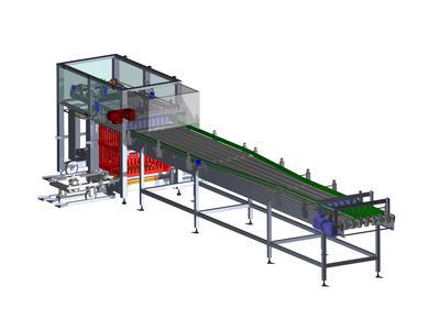 Be- und Entladestation bestehend aus 41 Baugruppen konstruiert in SolidWorks