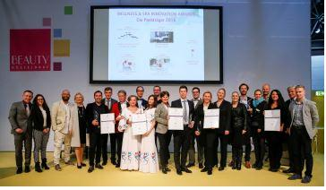 The winners of the Wellness & Spa Innovation Awards at a glance. They all have been rewarded with a trophy and celebrated in an exciting awards show on stage (Picture source: Messe Düsseldorf)