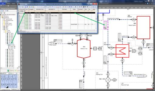 P&ID with piping, flow directions and destinations