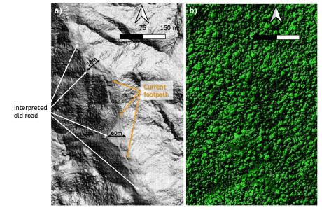"Figure 1. a) LiDAR ""Bare Earth"" image showing the road-like feature, which is up to 60m wide, and the superimposed footpath that is currently in use by the local people; b) the same area showing the LiDAR image of the jungle canopy in which the road-like structure is imperceptible"