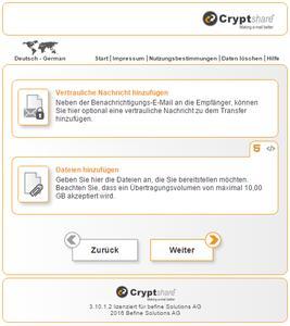 Vertrauliche Nachrichten und große Dateien austauschen mit dem Web-Interface