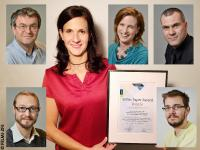 Bronze Paper Award: First author Ruth Schmidt with the Paper Award certificate (middle). Her co-authors from left to right: Armin Zankel, Claudia Mayrhofer and Hartmuth Schröttner (top row); Manfred Nachtnebel and Harald Fitzek (bottom row) / © FELMI-ZFE