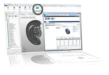 The CAD content on the TracePartsOnline.net platform can now be directly accessed from ZW3D