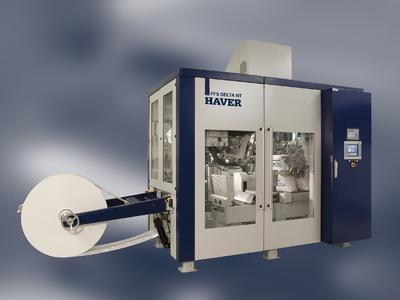 The HAVER DELTA NT is a further-developed packaging system for polymeric granulate product with speeds of over 2400 bags/hr